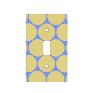 Stylish Yellow Blue Polka Dot Pattern Light Switch Cover