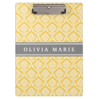 Stylish Yellow Damask Pattern with Grey Name Clipboards