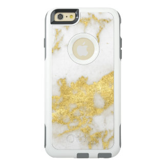 Stylish Yellow Gold Modern White Marble OtterBox iPhone 6/6s Plus Case