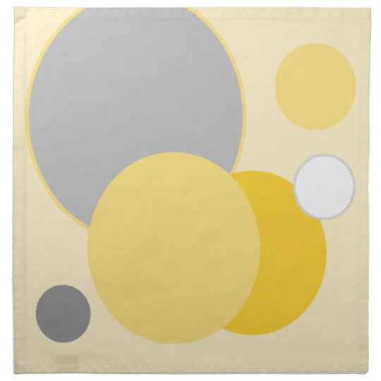 Stylish Yellow & Grey Circles Napkin
