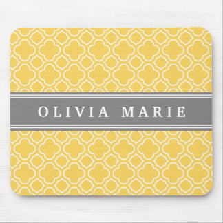 Stylish Yellow Quatrefoil Pattern with Name Mouse Pad