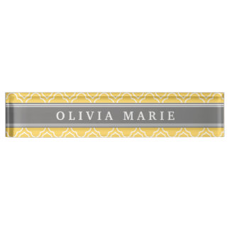 Stylish Yellow Quatrefoil Pattern with Name Nameplate