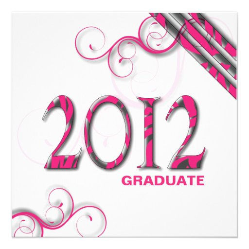 Stylish Zebra 2012 Grad Announcement Invitation