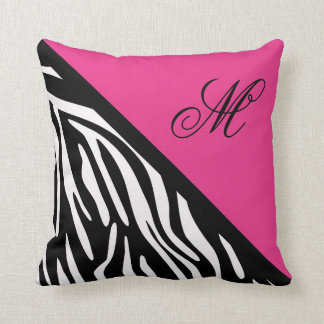 Stylish Zebra Print and Pink Monogram Throw Pillow