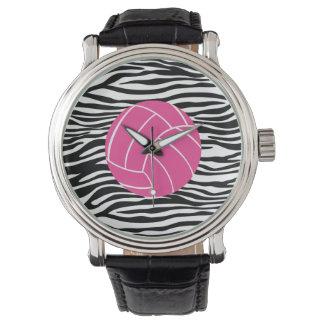 Stylish Zebra Print Volleyball Wrist Watch
