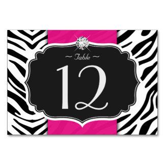 Stylish Zebra Print Wedding Table Number Card