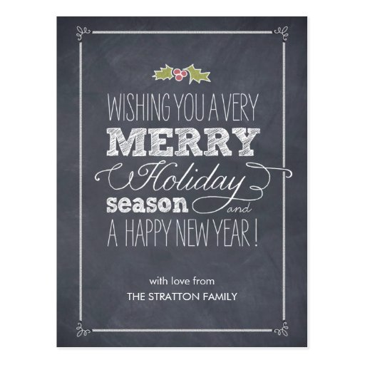 Stylishly Chalked Holiday Card Postcard Post Card
