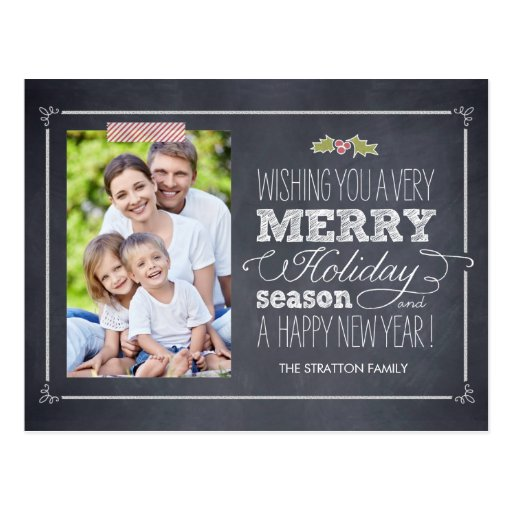 Stylishly Chalked Holiday Photo Card Postcard Post Cards