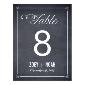 Stylishly Chalked Table Number Card Postcard