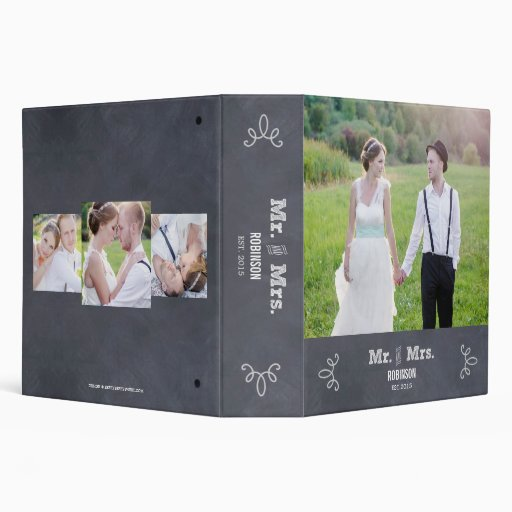 Stylishly Chalked Wedding Photo Album Binder