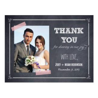 Stylishly Chalked Wedding Thank You Card