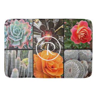 Stylishly chic cacti & roses photo custom monogram bath mat