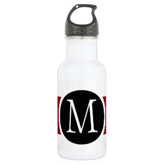 Stylishly Elegant Black, White & Red Line Monogram 532 Ml Water Bottle