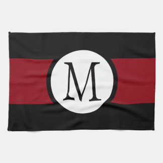 Stylishly Elegant Black, White & Red Line Monogram Kitchen Towel
