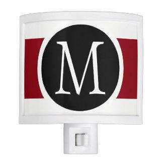 Stylishly Elegant Black, White & Red Line Monogram Nite Light