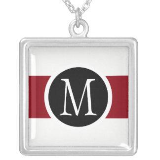 Stylishly Elegant Black, White & Red Line Monogram Silver Plated Necklace