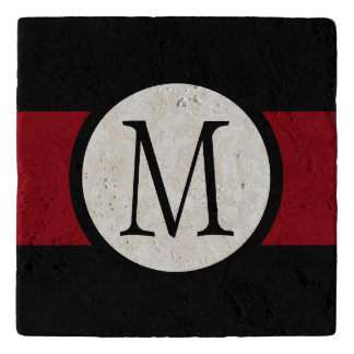 Stylishly Elegant Black, White & Red Line Monogram Trivet