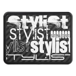 Stylist; Black & Dark Gray Stripes Trailer Hitch Cover