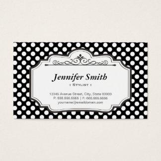 Stylist - Black Polka Dots Business Card