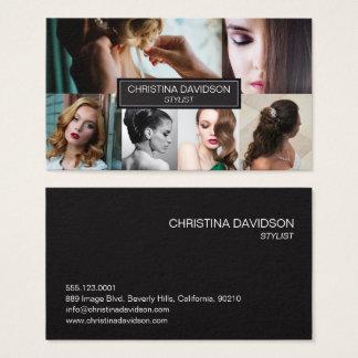 Stylist, customizable photos, black, sleek business card