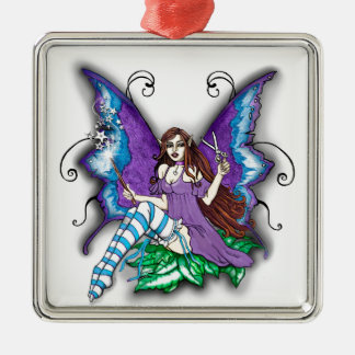 Stylist-Hair Dresser Fairy Silver-Colored Square Ornament