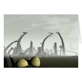 Stylized Alien City Card