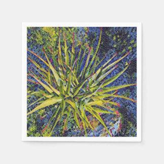 Stylized Aloe Mosaics Plant Paper Napkin