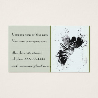 Stylized angel on pale green business card