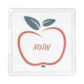Stylized Apple custom monogram serving trays