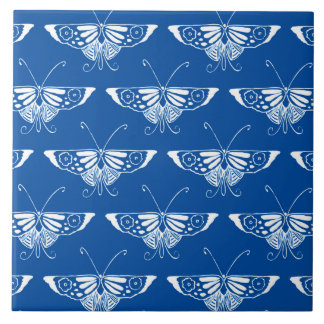 Stylized Art Deco butterfly, cobalt blue and white Tile
