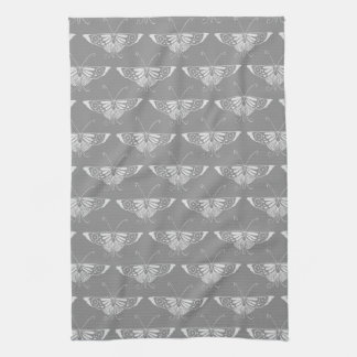 Stylized Art Deco butterfly, shades of grey / gray Kitchen Towel