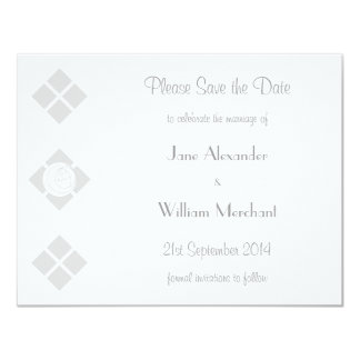 Stylized Art Nouveau Rose & Square Save the Date Card