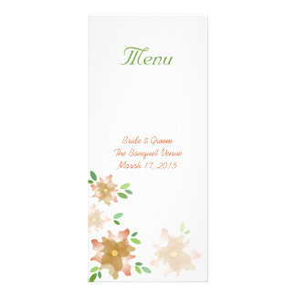 Stylized Azaleas Brown Wedding Menu Rack Card