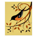 Stylized Baltimore Oriole Art Poster