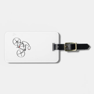 Stylized Bicyclist Design Luggage Tag