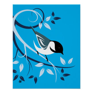 Stylized Black Capped Chickadee Art Prints