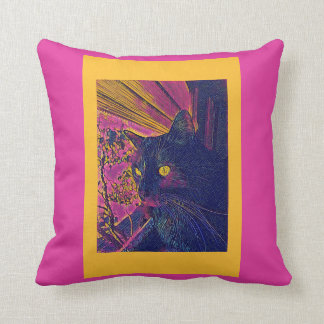 Stylized Black Cat on Fuschia & Goldenrod Throw Pillow