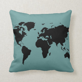 stylized black world map throw pillow