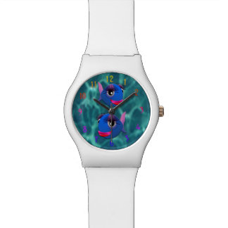 Stylized blue fish watch