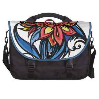 Stylized Blue Flower Bags For Laptop