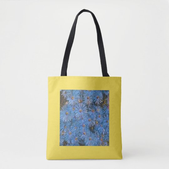 Stylized Blue Flowers Painting Tote Bag