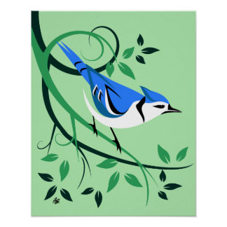 Stylized Blue Jay Art Posters