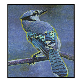 Stylized Blue Jay Series - Number 10 Poster