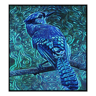 Stylized Blue Jay Series - Number 11 Poster