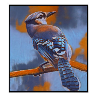 Stylized Blue Jay Series - Number 14 Poster