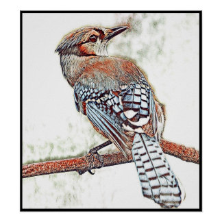 Stylized Blue Jay Series - Number 15 Poster
