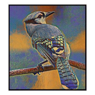 Stylized Blue Jay Series - Number 16 Poster