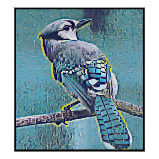 Stylized Blue Jay Series - Number 18 Poster