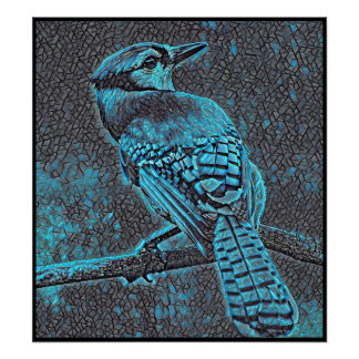 Stylized Blue Jay Series - Number 22 Poster