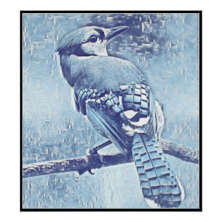 Stylized Blue Jay Series - Number 23 Poster
